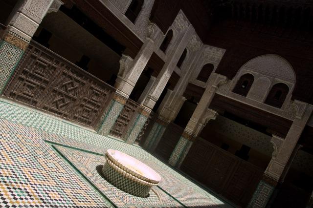 Patio principal de la Madraza Bou Inania - Meknès, Marruecos