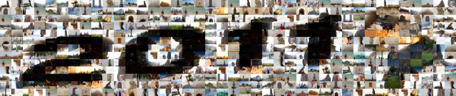 Mosaico de viajes del perro viajante en el 2011