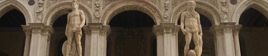 Detalle de la Scalada dei Giganti del Palacio Ducal de Venecia, Italia