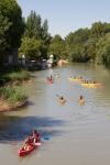 Mañana de piragüismo en el río Tajo a su paso por los jardines del Príncipe de Aranjuez, España.